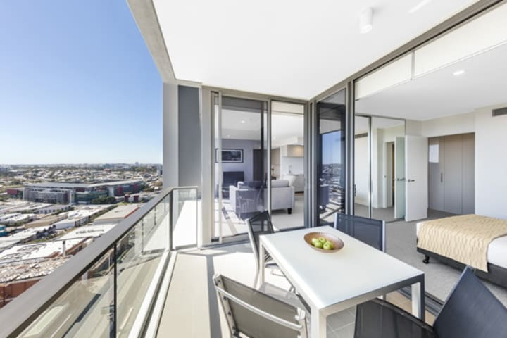 2 bedroom apartment with big balcony overlooking Suncorp Stadium near train station at The Milton Brisbane hotel
