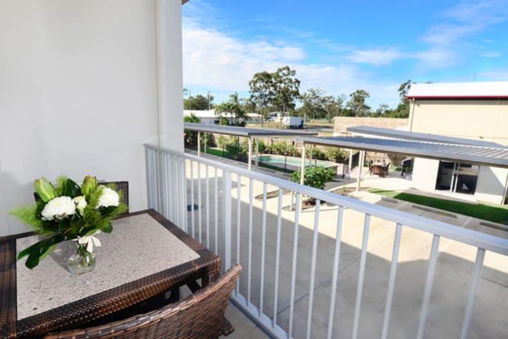 balcony of 2 bedroom apartment accommodation at Oaks Middlemount hotel