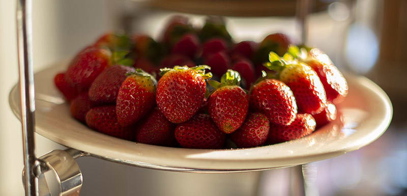 Breakfast with fresh strawberry at Bistro and Bar Restaurant Oaks Cypress Lakes Resort