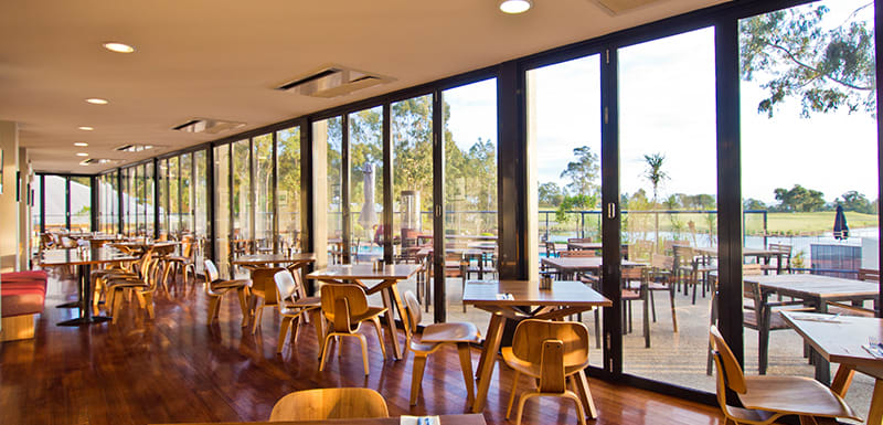 interior Bodega Restaurant and Bar with views of hunter valley and oaks cypress lakes golf course