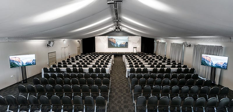 conference venue for hire in hunter valley interior shot with tv speaker projector and microphone with soundsystem