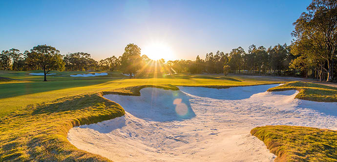 View of beautiful fairway on 18 hole Hunter Valley golf course at Cypress Lakes Resort in Pokolbin