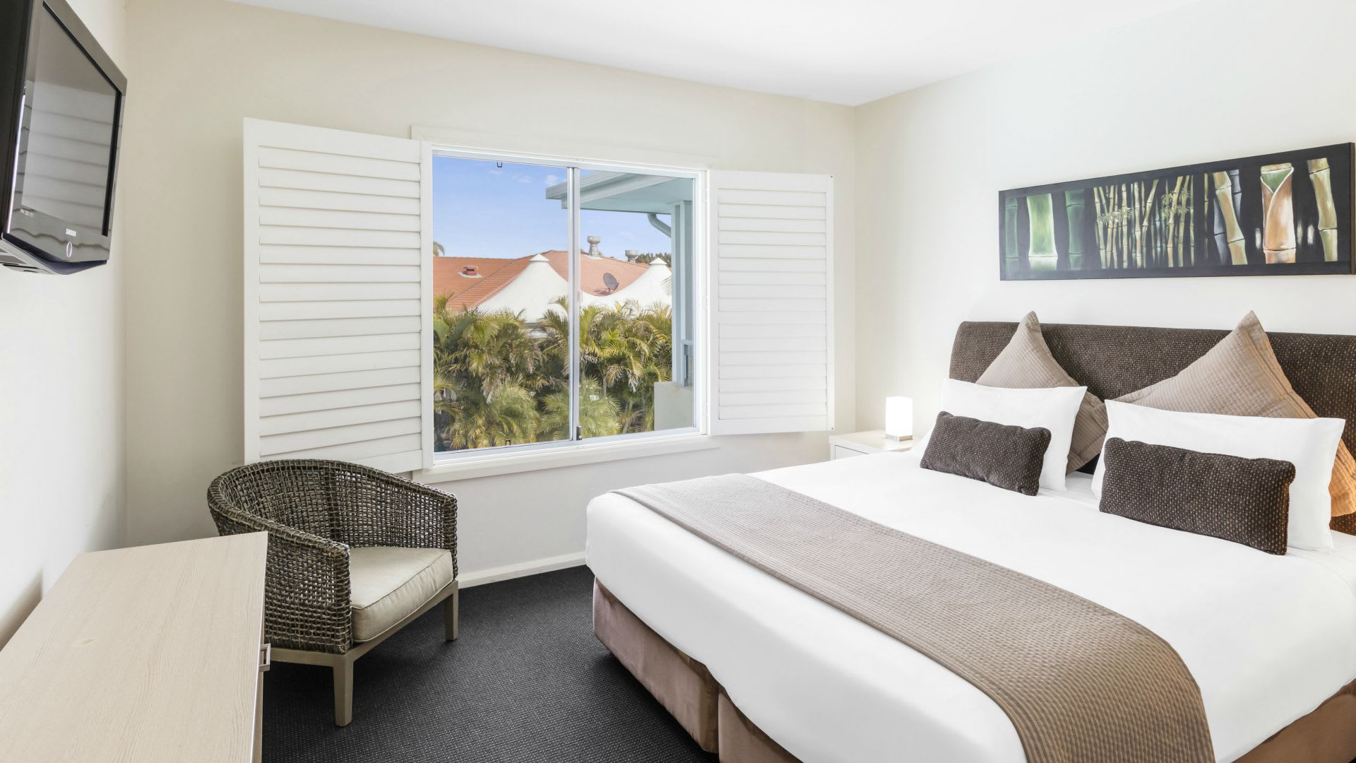Bedroom with view at Oaks Pacific Blue Resort