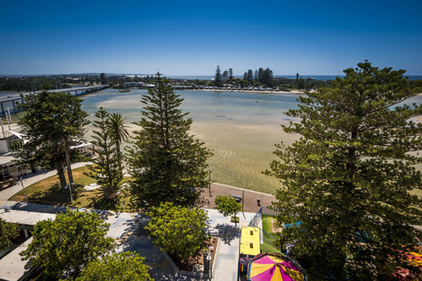 View of Tuggerah Lake from nearby hotel balcony