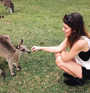 girl feeding small kangaroo in sydney
