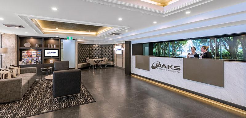 lobby, reception area and friendly hotel staff at oaks Hyde Park Plaza in Sydney CBD