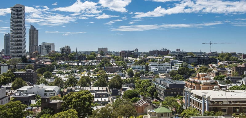 view of Sydney city from balcony of 2 Bedroom Apartment at Oaks Hyde Park Plaza hotel