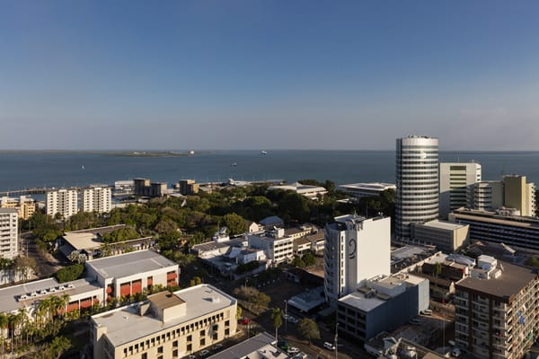 aerial view of Darwin during daytime with ocean in the background from balcony at Oaks Elan Darwin hotel