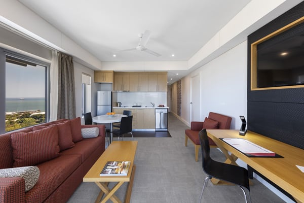 kitchen with kettle and microwave in 1 bedroom apartment, Darwin, Australia