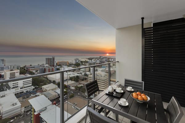 2 bedroom hotel apartment with balcony view of sunsets in Darwin, Australia