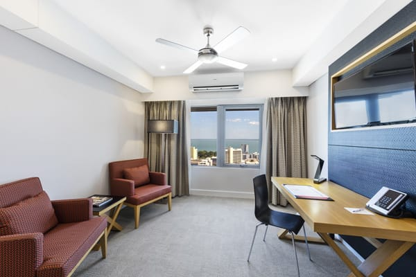 2 bedroom business traveller accommodation with air conditioned living room in Darwin hotel, Northern Territory, Australia
