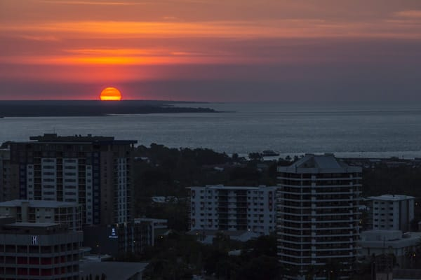 aerial view of beautiful sunset over Darwin Harbour from 2 bedroom apartment balcony at Oaks Elan Darwin hotel Northern Territory, Australia