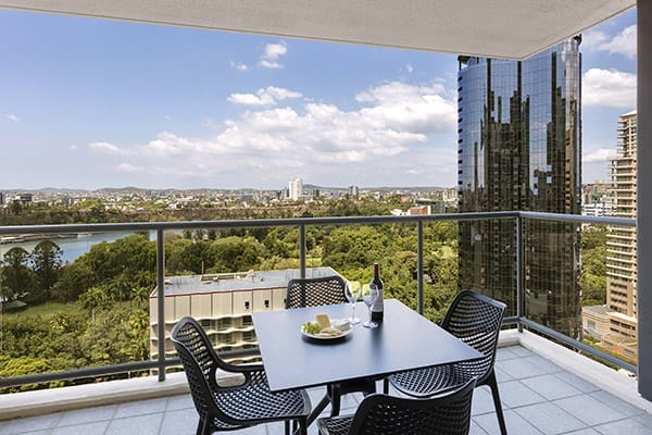 spacious private balcony with nice brisbane city view at oaks 212 margaret 2 bedroom river view brisbane hotel