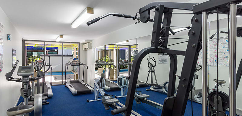 Fully equipped gym inside Brisbane CBD hotel, ideal for corporate travellers
