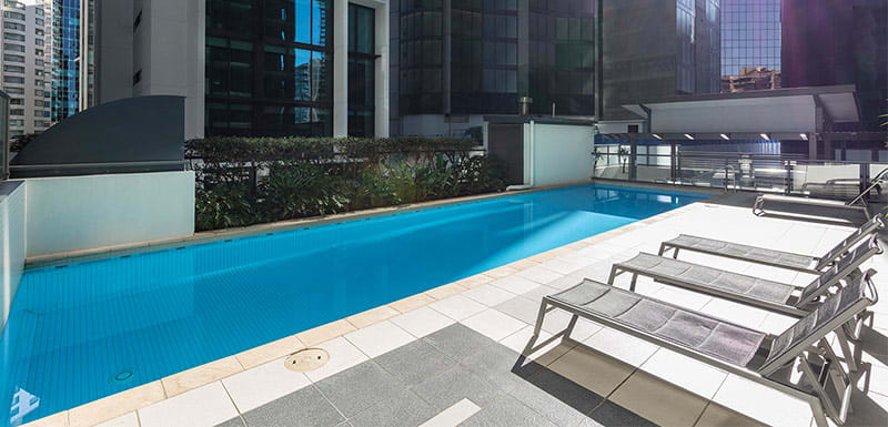 Long swimming pool of Brisbane city hotel for business travellers