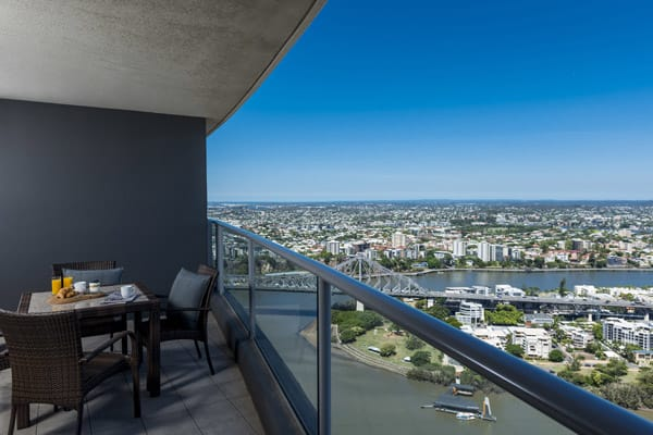 view of Brisbane River from balcony of Oaks Aurora 1 bedroom hotel apartment on Queen Street