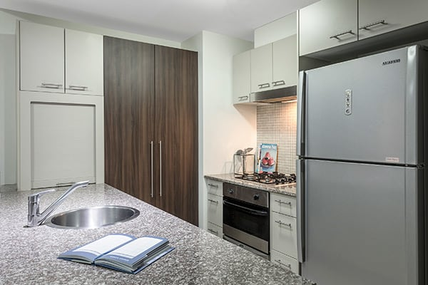 Oaks Brisbane Aurora Suites 2 Bedroom River View Kitchen