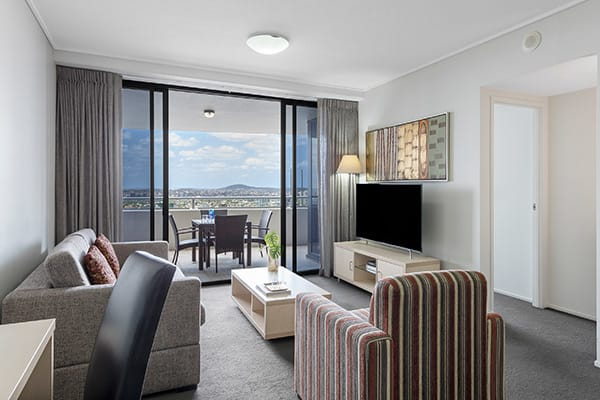 Oaks Brisbane Aurora Suites 2 Bedroom River View Living