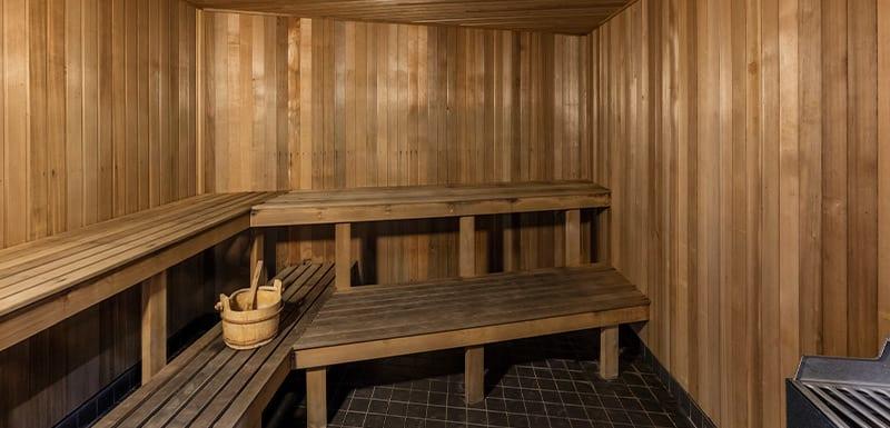 sauna at Oaks Aurora hotel on Queen St in Brisbane city