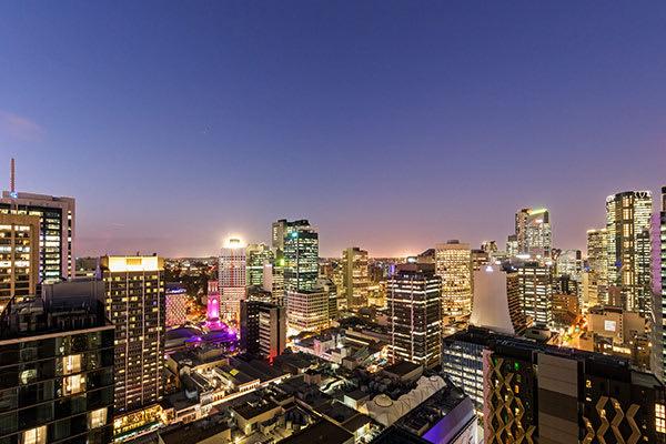Oaks Brisbane Casino Tower Suites 1 Bedroom Apartment  night view