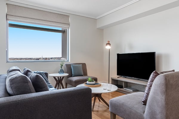 Brisbane city hotels large living room at Oaks Casino Towers 2 bedroom apartment in Brisbane CBD