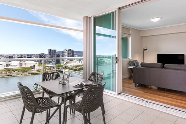 large balcony at 3 bedroom penthouse at Oaks Casino Towers hotel near Treasury Casino in Brisbane city