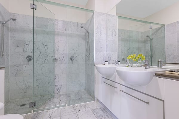 Oaks Brisbane Casino Tower Suites 3 Bedroom Apartment Bathroom one with shower room and two basins
