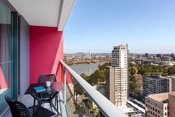 Oaks Brisbane Felix Suites 1 Bed Apartment Balcony with River and City View