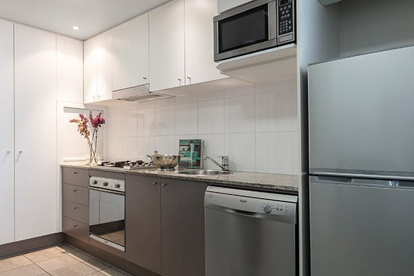Oaks Brisbane Felix Suites 1 Bed Executive Fully equipped Kitchen with fridge, oven, microwave and dishwasher