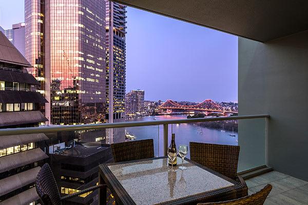 Oaks Brisbane on Felix Suites 2 Bedroom River View Balcony