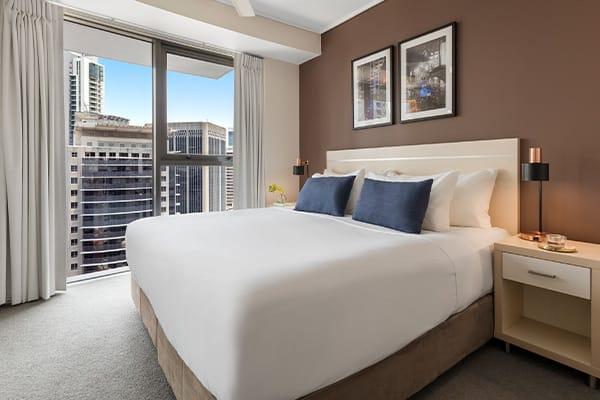 Oaks Brisbane on Felix Suites 2 Bedroom River View Bedroom
