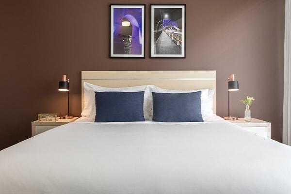 Oaks Brisbane on Felix Suites 2 Bedroom Story Bridge View Bedroom one with king sized bed