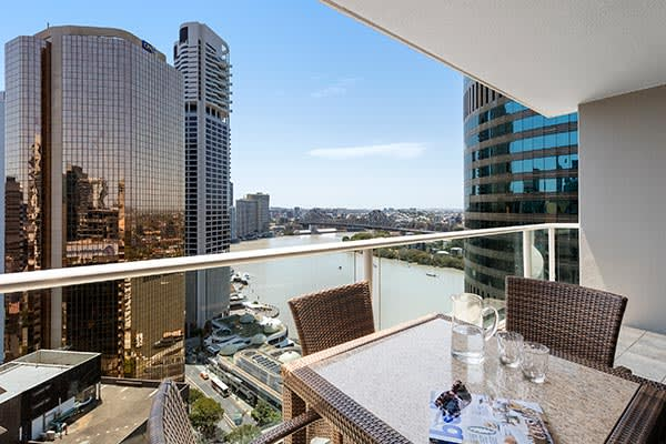 Oaks Brisbane Felix Suites 3 Bed Apartment Balcony with Brisbane River and Story Bridge View