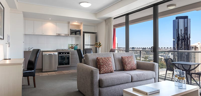 Oaks Felix hotel Brisbane CBD accommodation 1 bedroom apartment living room with city view