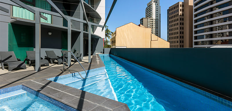 Oaks Brisbane Felix Suites Outdoor Pool and Spa at Daytime