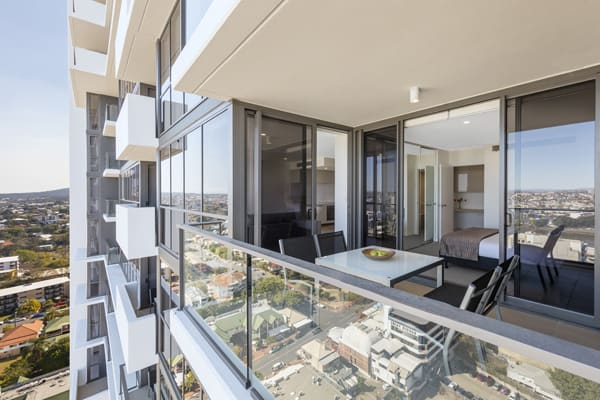 hotel balcony in 1 bedroom apartment with views of Suncorp Stadium at The Milton Brisbane on Railway Tce