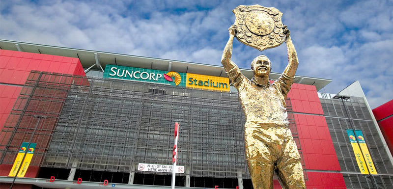Wally Lewis statue holding trophy aloft outside Suncorp Stadium entrance in Milton, Paddington area Brisbane