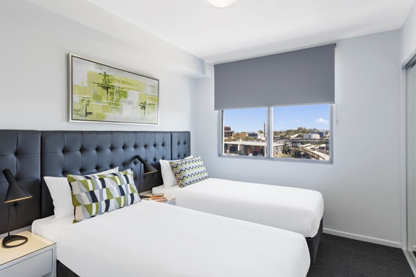 two single beds in 2 bedroom apartment walking distance to The Gabba Stadium in Brisbane, Queensland