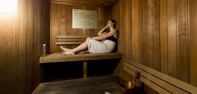 hotel guest using sauna at Oaks Aspire in Ipswich, Queensland