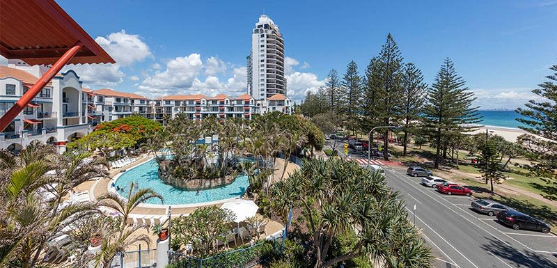 oaks calypso resort designed with the outdoor pool by the coolangatta beach, gold coast, australia