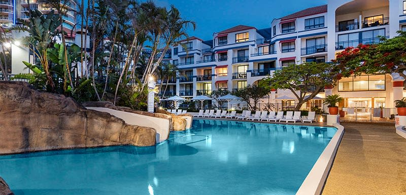 outdoor pool side at duck at Oaks Calypso Resort by the coolangatta beach, gold coast, Australia