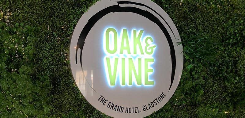 oak and vine logo restaurant at oaks grand gladstone queensland australia