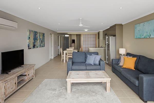 Oaks Resort Spa Hervey Bay 3 Bedroom Ocean View Living Room