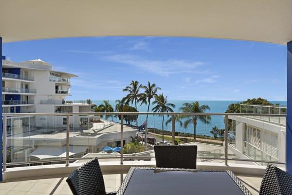 Big balcony with ocean views in Hervey Bay resort 3 bedroom holiday apartment