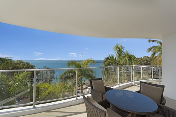 Private balcony with ocean views in 3 bedroom resort accommodation in Hervey Bay