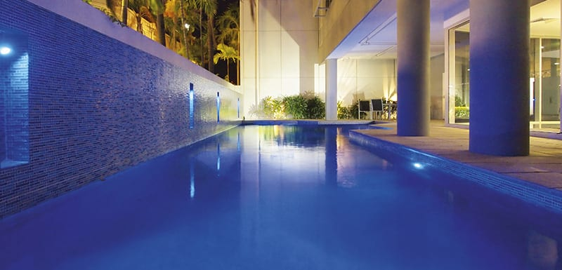 Full length outdoor swimming pool at Oaks Townsville Metropole Hotel, Palmer Street, Townsville