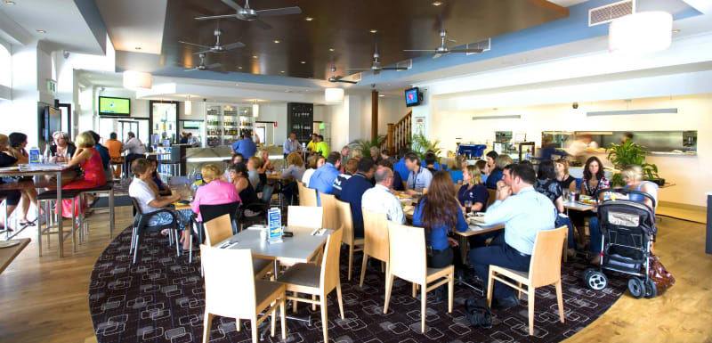 customers eating steak lunch at the popular Metropole Hotel restaurant in Townsville