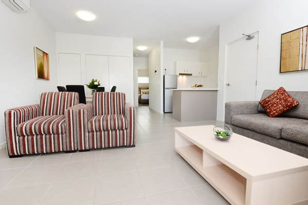 living room with modern furniture, air conditioning and wi-fi at Oaks Middlemount hotel