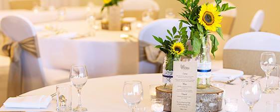 table setting at beautiful indoor wedding venues Sunshine Coast in Caloundra