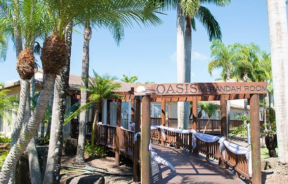 entrance to the verandah room wedding reception venue at Oaks Oasis Resort hotel in Caloundra, Sunshine Coast